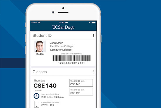 Phone screen mockup displaying the UC San Diego mobile app