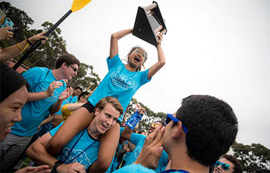 UC San Diego students celebrate winning the Unolympics competition during welcome week 2018
