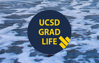 UC San Diego Grad Life logo - text illustration against an ocean background