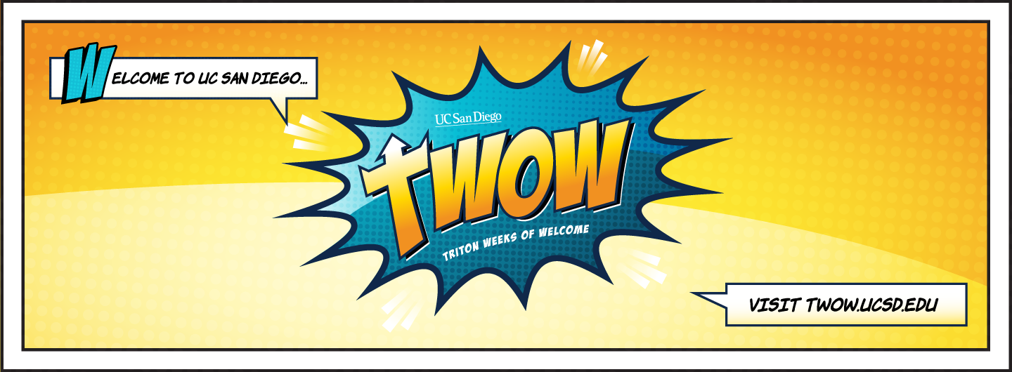 Welcome Tritons! Triton Weeks of Welcome - colorful comic-book style text illustration