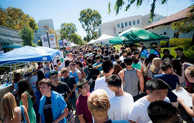 UC San Diego student services fair - outdoors on Library Walk